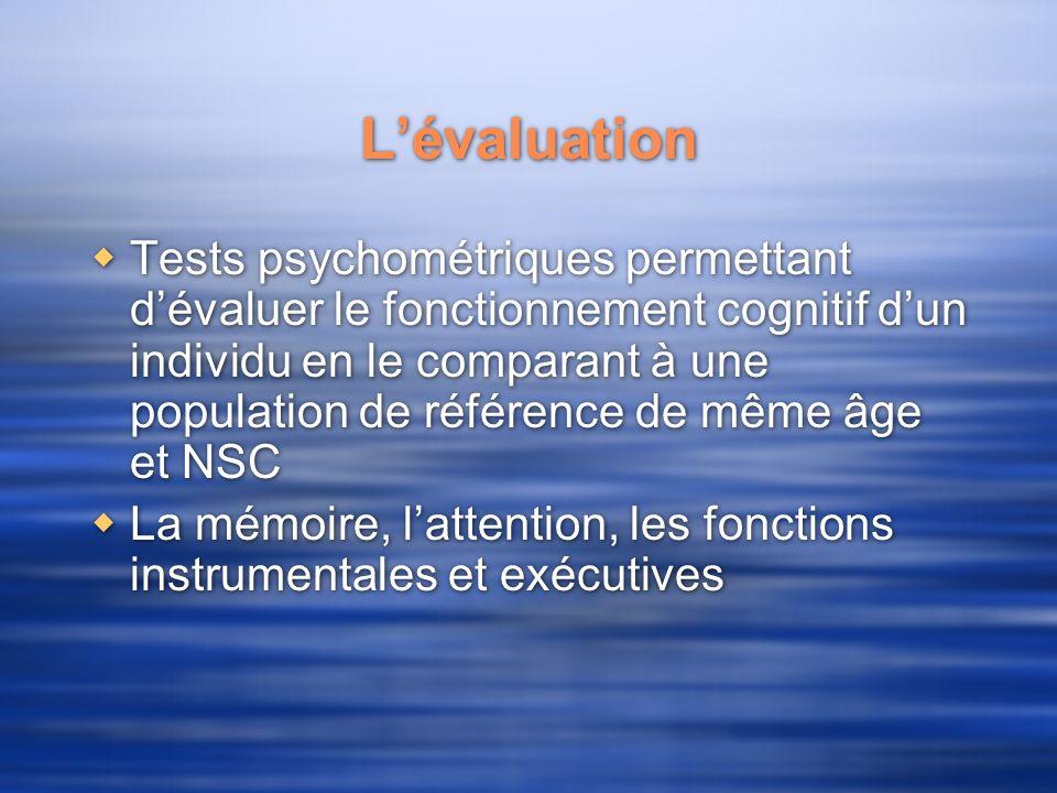 Lévaluation Tests psychométriques permettant dévaluer le fonctionnement cognitif dun individu en le comparant à une population de référence de même âg