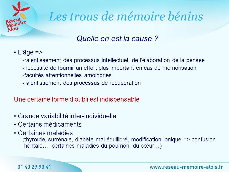Lâge => -ralentissement des processus intellectuel, de lélaboration de la pensée -nécessité de fournir un effort plus important en cas de mémorisation