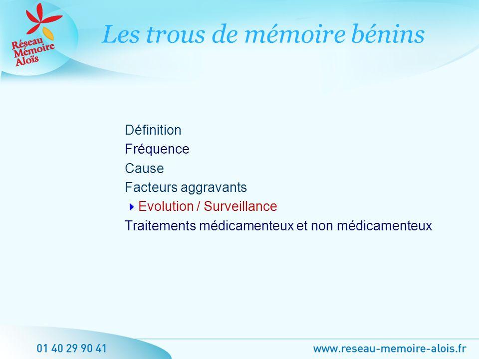 Définition Fréquence Cause Facteurs aggravants Evolution / Surveillance Traitements médicamenteux et non médicamenteux Les trous de mémoire bénins
