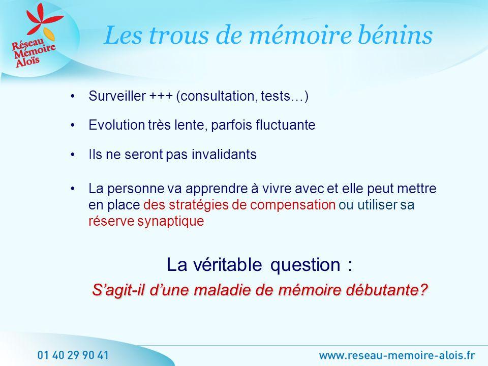 Surveiller +++ (consultation, tests…) Evolution très lente, parfois fluctuante Ils ne seront pas invalidants La personne va apprendre à vivre avec et