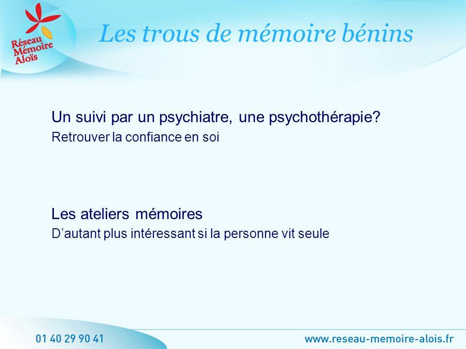 Un suivi par un psychiatre, une psychothérapie? Retrouver la confiance en soi Les ateliers mémoires Dautant plus intéressant si la personne vit seule