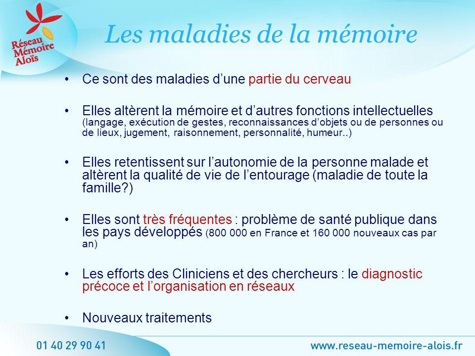 Ce sont des maladies dune partie du cerveau Elles altèrent la mémoire et dautres fonctions intellectuelles (langage, exécution de gestes, reconnaissan