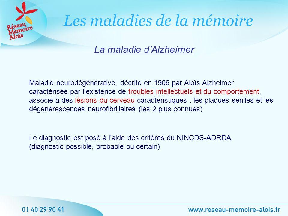 La maladie dAlzheimer Maladie neurodégénérative, décrite en 1906 par Aloïs Alzheimer caractérisée par lexistence de troubles intellectuels et du compo