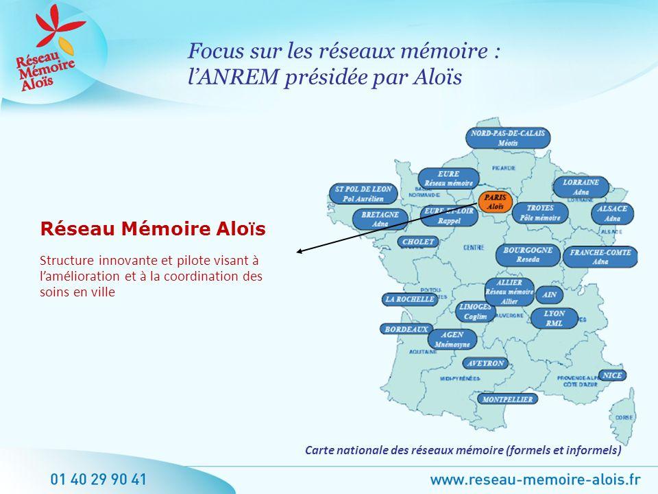 Focus sur les réseaux mémoire : lANREM présidée par Aloïs Réseau Mémoire Alo ï s Structure innovante et pilote visant à lamélioration et à la coordina