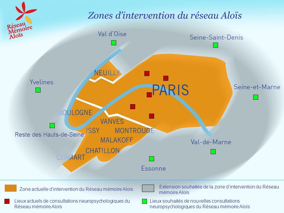 Zones dintervention du réseau Aloïs Lieux actuels de consultations neuropsychologiques du Réseau mémoire Aloïs Lieux souhaités de nouvelles consultati