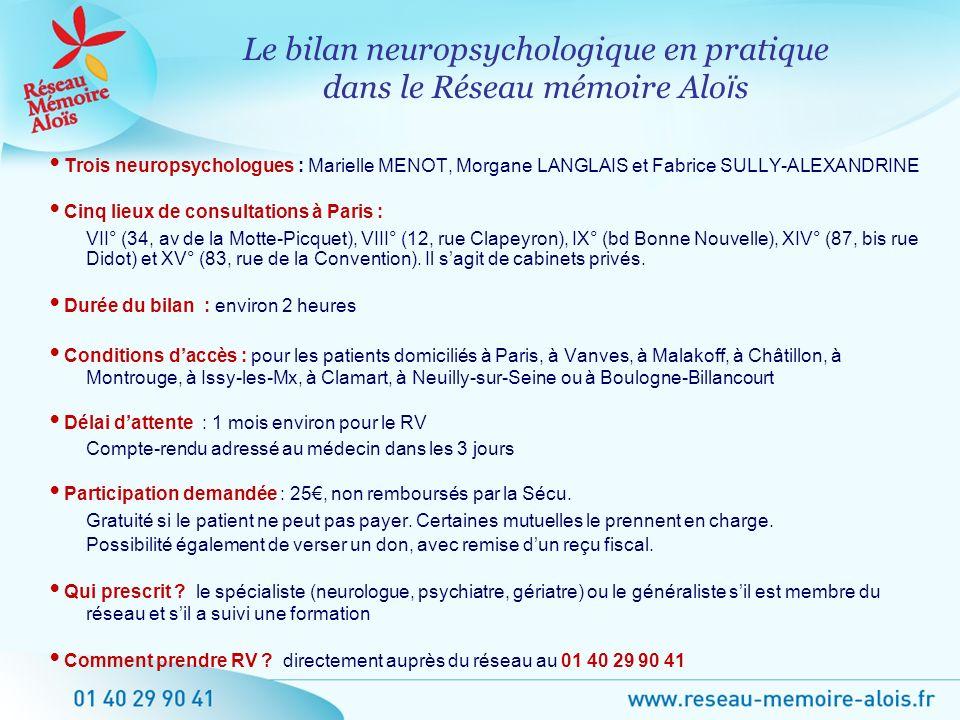 Trois neuropsychologues : Marielle MENOT, Morgane LANGLAIS et Fabrice SULLY-ALEXANDRINE Cinq lieux de consultations à Paris : VII° (34, av de la Motte