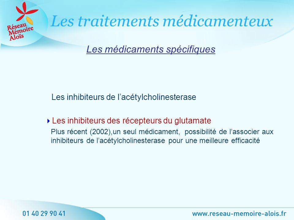 Les médicaments spécifiques Les inhibiteurs de lacétylcholinesterase Les inhibiteurs des récepteurs du glutamate Plus récent (2002),un seul médicament