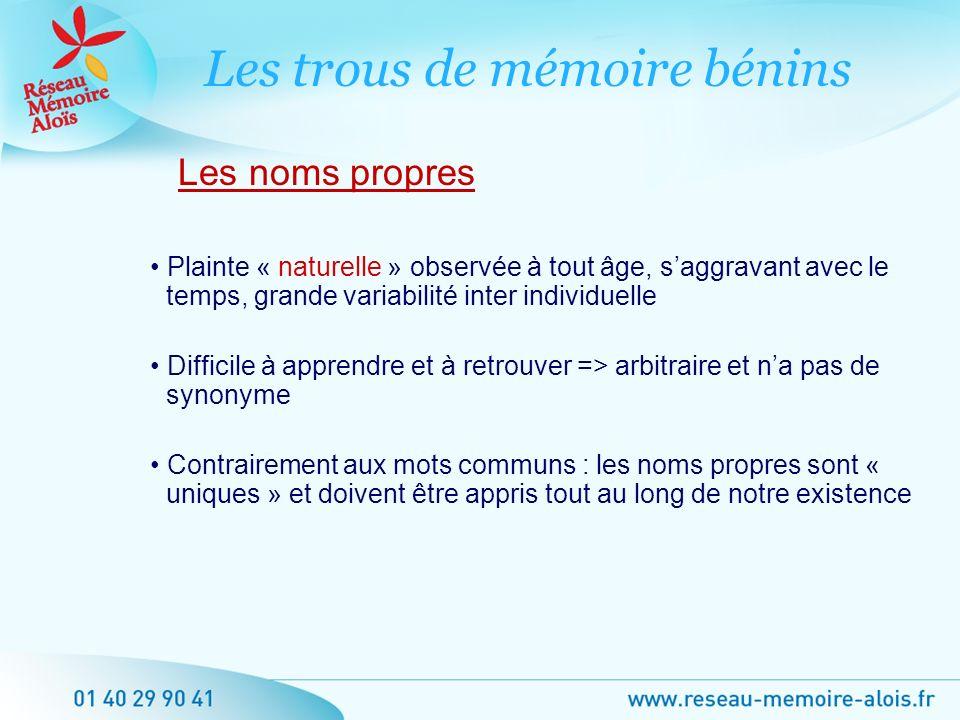 Les trous de mémoire bénins diffèrent-ils de ceux en rapport avec une maladie de la mémoire .