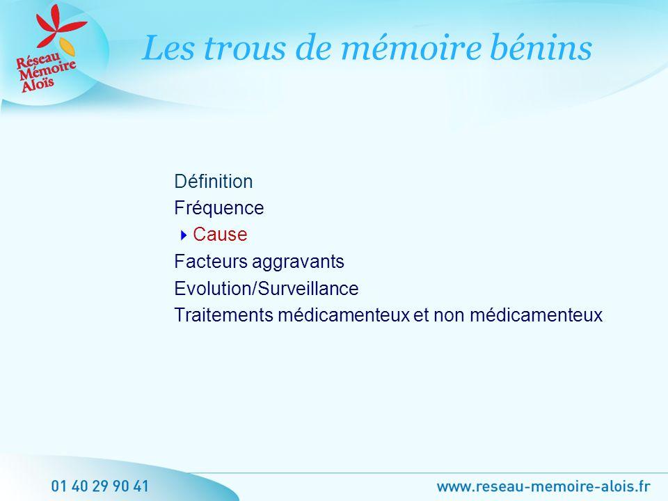 Définition Fréquence Cause Facteurs aggravants Evolution/Surveillance Traitements médicamenteux et non médicamenteux Les trous de mémoire bénins