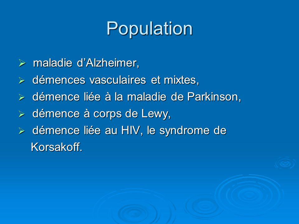 Population maladie dAlzheimer, maladie dAlzheimer, démences vasculaires et mixtes, démences vasculaires et mixtes, démence liée à la maladie de Parkin