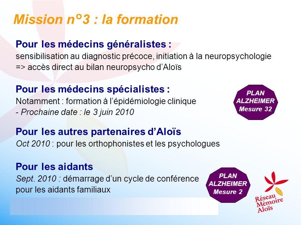 Pour les médecins généralistes : sensibilisation au diagnostic précoce, initiation à la neuropsychologie => accès direct au bilan neuropsycho dAloïs M