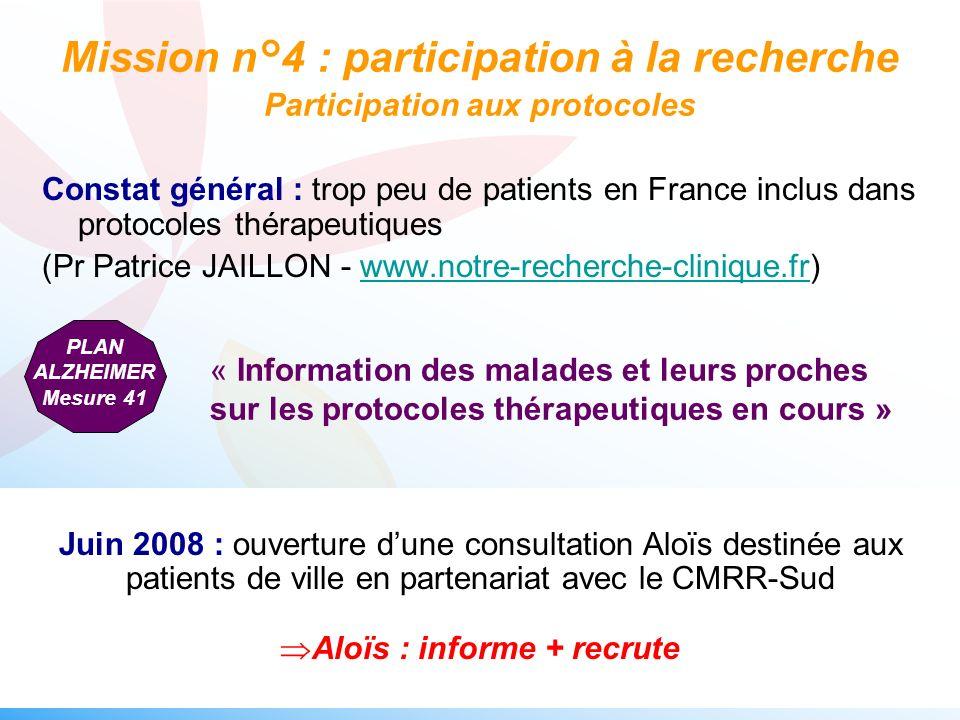 Constat général : trop peu de patients en France inclus dans protocoles thérapeutiques (Pr Patrice JAILLON - www.notre-recherche-clinique.fr)www.notre