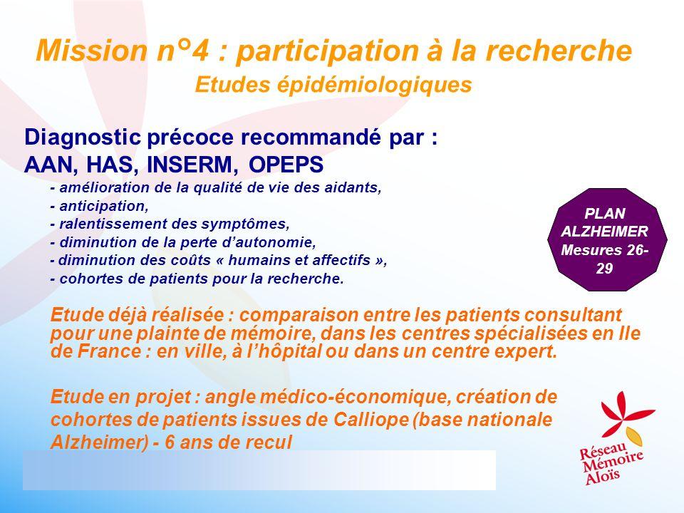 Diagnostic précoce recommandé par : AAN, HAS, INSERM, OPEPS - amélioration de la qualité de vie des aidants, - anticipation, - ralentissement des symp