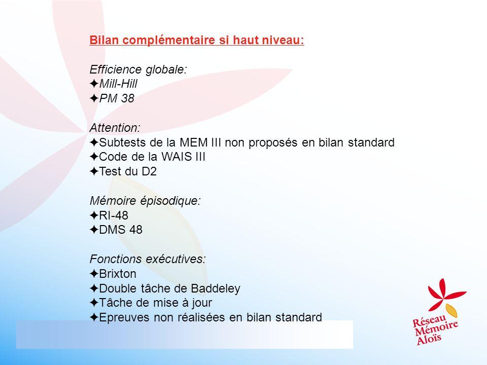 Bilan complémentaire si haut niveau: Efficience globale: Mill-Hill PM 38 Attention: Subtests de la MEM III non proposés en bilan standard Code de la W
