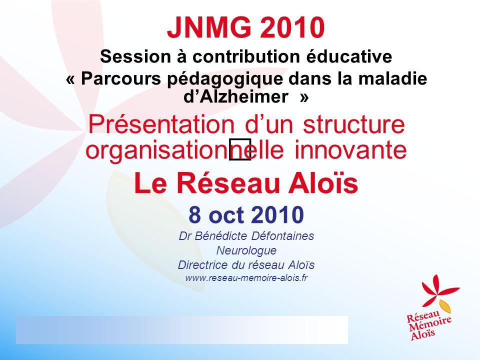 JNMG 2010 Session à contribution éducative « Parcours pédagogique dans la maladie dAlzheimer » Présentation dun structure organisationnelle innovante