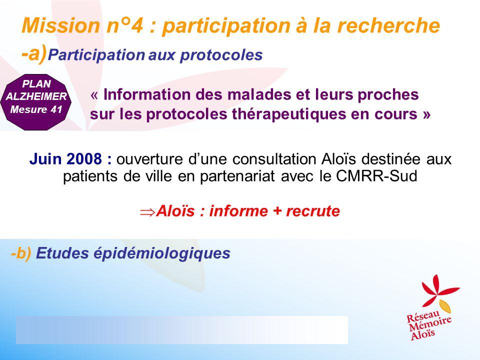 Mission n°4 : participation à la recherche -a) Participation aux protocoles PLAN ALZHEIMER Mesure 41 Juin 2008 : ouverture dune consultation Aloïs des