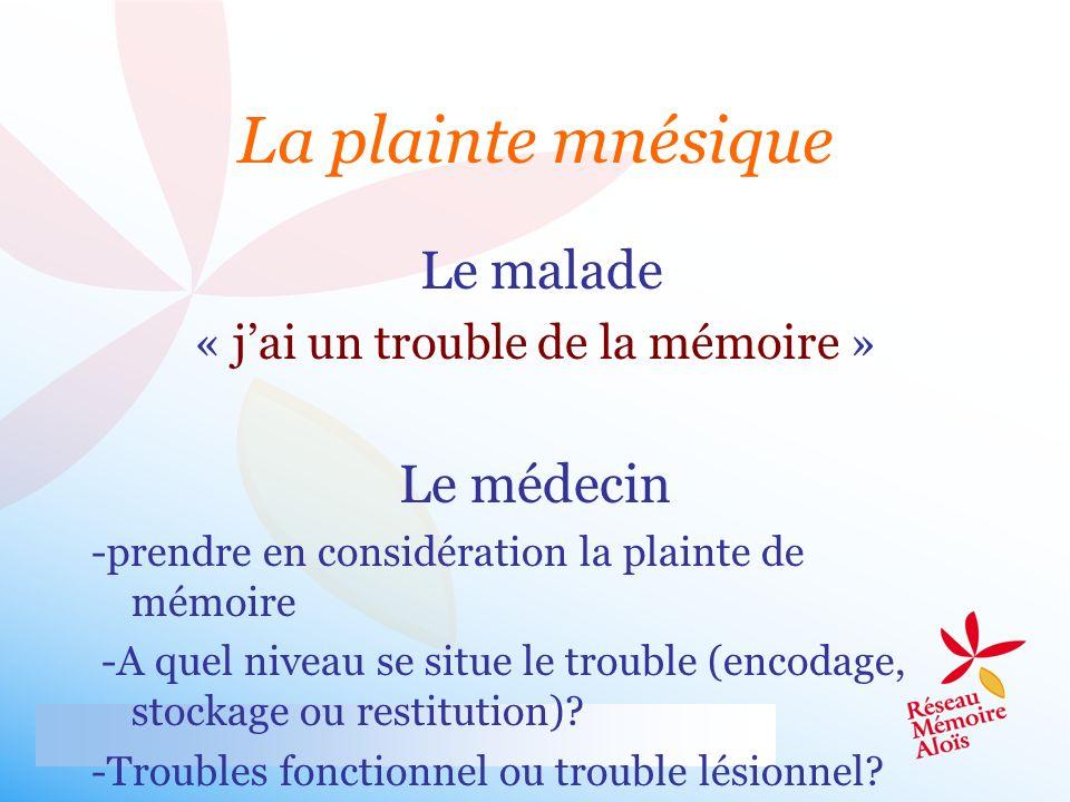 Le malade « jai un trouble de la mémoire » Le médecin -prendre en considération la plainte de mémoire -A quel niveau se situe le trouble (encodage, st