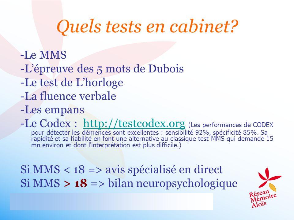 - Le MMS -Lépreuve des 5 mots de Dubois -Le test de Lhorloge -La fluence verbale -Les empans -Le Codex : http://testcodex.org (Les performances de COD