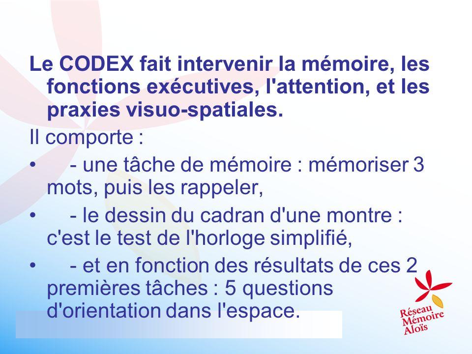 Le CODEX fait intervenir la mémoire, les fonctions exécutives, l'attention, et les praxies visuo-spatiales. Il comporte : - une tâche de mémoire : mém