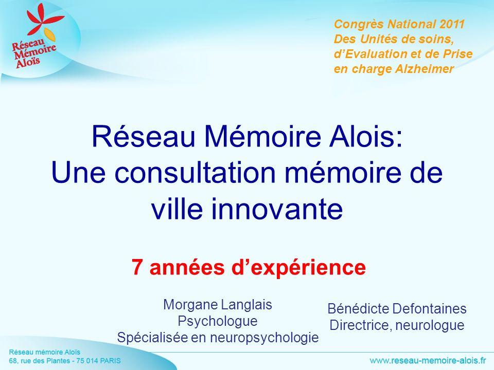 Réseau Mémoire Alois: Une consultation mémoire de ville innovante 7 années dexpérience Morgane Langlais Psychologue Spécialisée en neuropsychologie Co