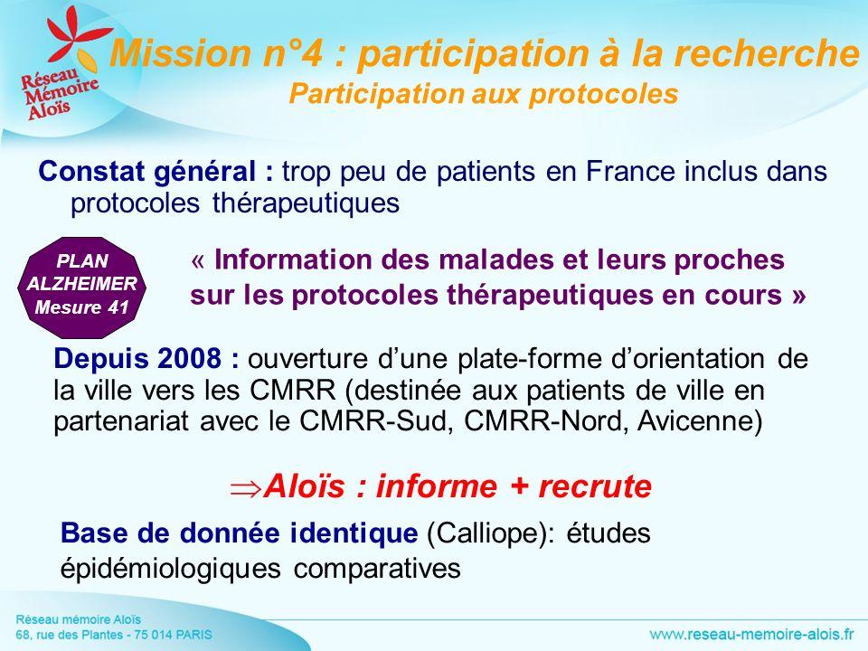 Constat général : trop peu de patients en France inclus dans protocoles thérapeutiques Mission n°4 : participation à la recherche Participation aux pr