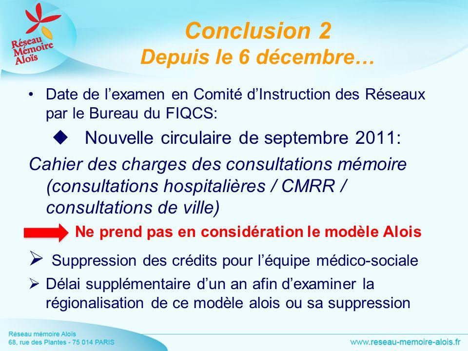 Conclusion 2 Depuis le 6 décembre… Date de lexamen en Comité dInstruction des Réseaux par le Bureau du FIQCS: Nouvelle circulaire de septembre 2011: C