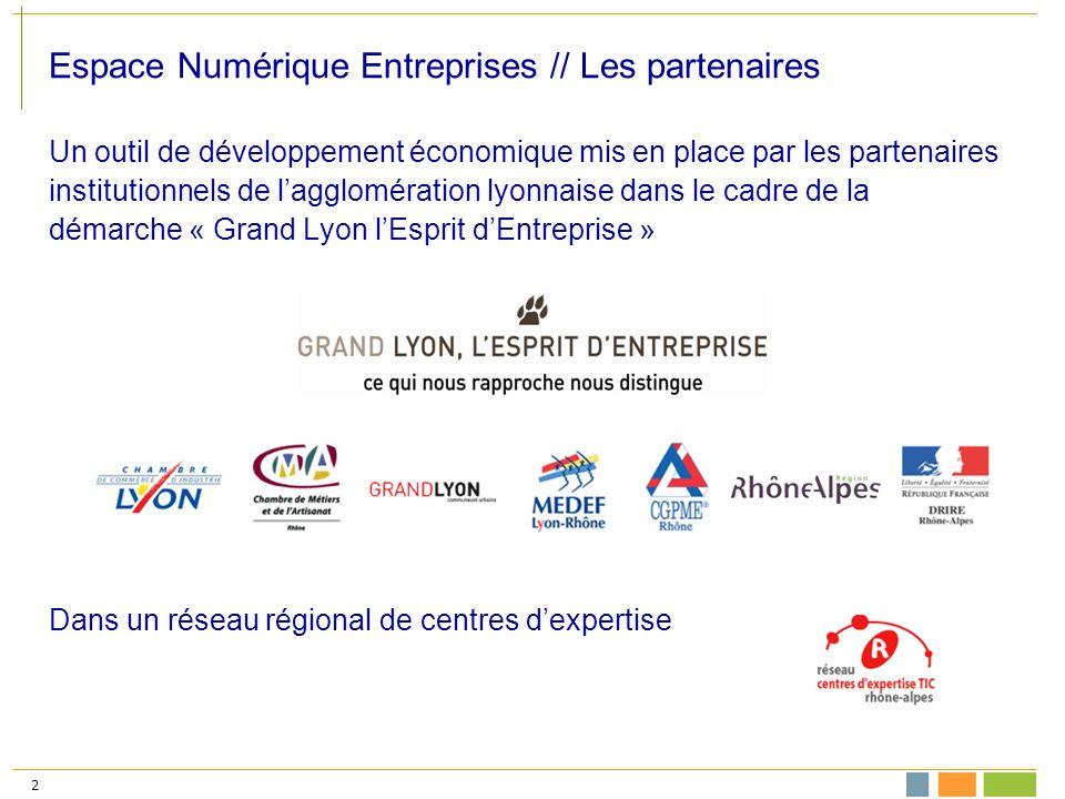 2 Espace Numérique Entreprises // Les partenaires Un outil de développement économique mis en place par les partenaires institutionnels de lagglomération lyonnaise dans le cadre de la démarche « Grand Lyon lEsprit dEntreprise » Dans un réseau régional de centres dexpertise