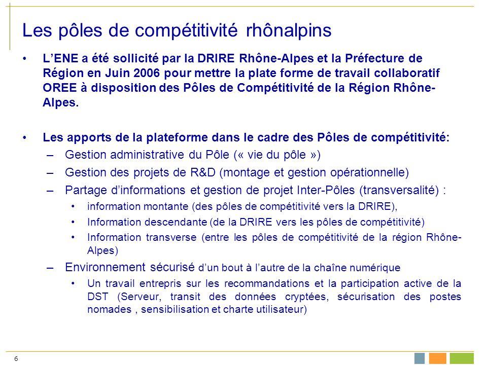 6 Les pôles de compétitivité rhônalpins LENE a été sollicité par la DRIRE Rhône-Alpes et la Préfecture de Région en Juin 2006 pour mettre la plate forme de travail collaboratif OREE à disposition des Pôles de Compétitivité de la Région Rhône- Alpes.
