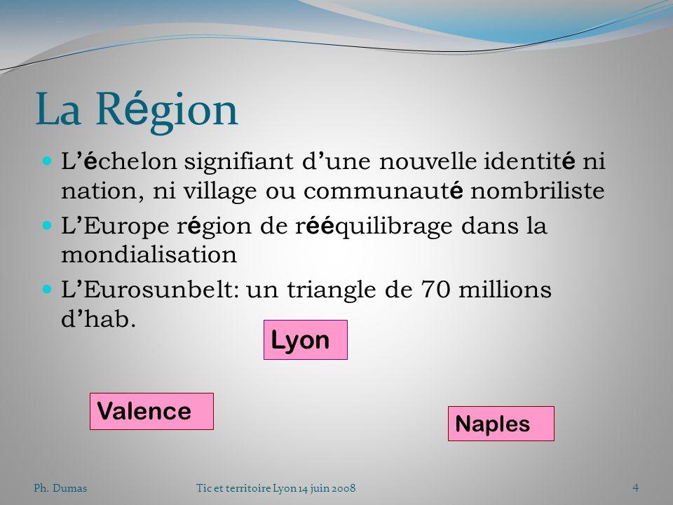 Ph. DumasTic et territoire Lyon 14 juin 20083 Repenser la nation D é bat é lectoral Europ é anisme Sentiment europ é en Attitudes vers Patrimoine ( é