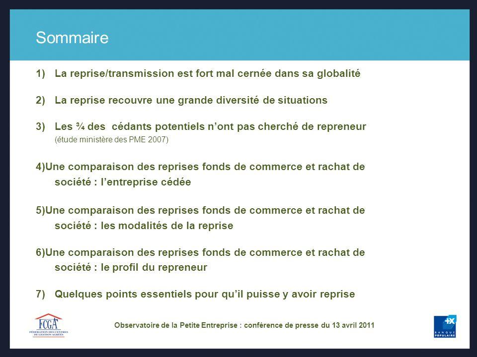 Observatoire de la Petite Entreprise : conférence de presse du 13 avril 2011 Sommaire 1)La reprise/transmission est fort mal cernée dans sa globalité