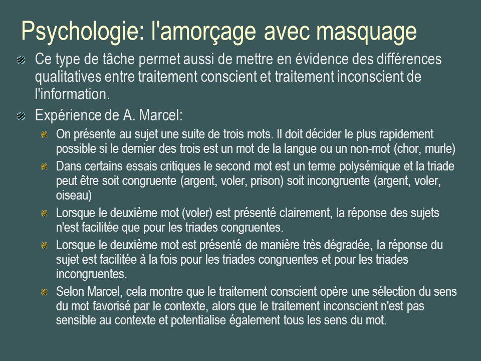 Psychologie: l'amorçage avec masquage Ce type de tâche permet aussi de mettre en évidence des différences qualitatives entre traitement conscient et t