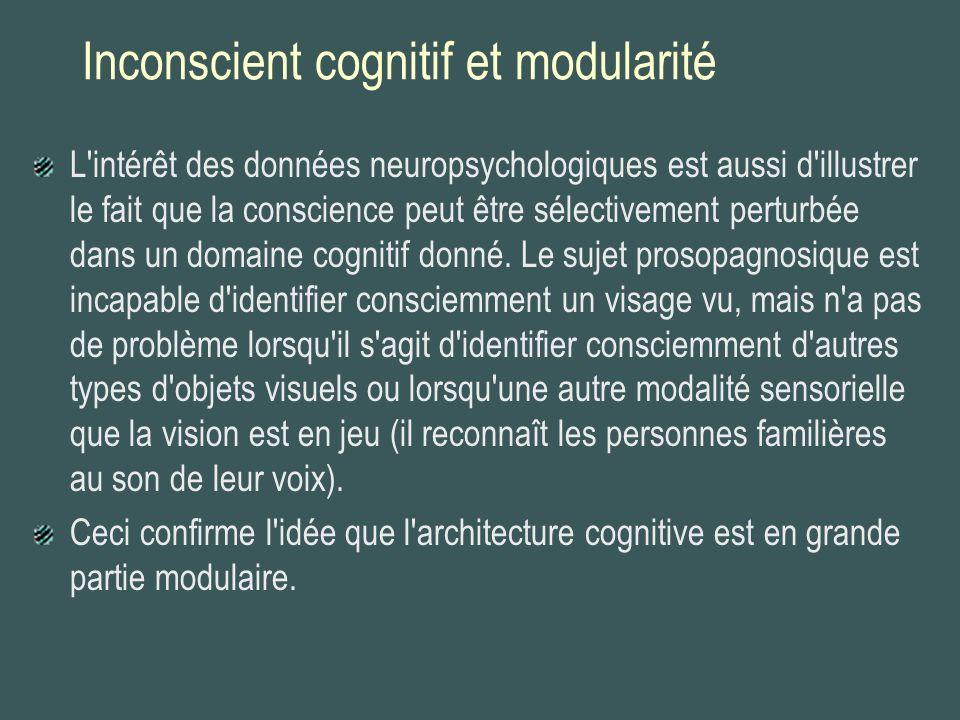 Inconscient cognitif et modularité L'intérêt des données neuropsychologiques est aussi d'illustrer le fait que la conscience peut être sélectivement p