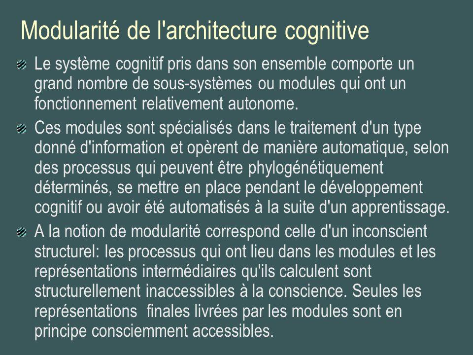 Modularité de l'architecture cognitive Le système cognitif pris dans son ensemble comporte un grand nombre de sous-systèmes ou modules qui ont un fonc