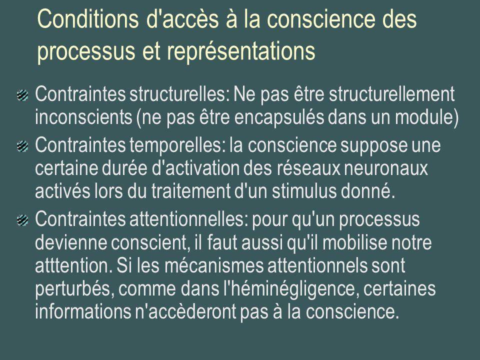 Conditions d'accès à la conscience des processus et représentations Contraintes structurelles: Ne pas être structurellement inconscients (ne pas être