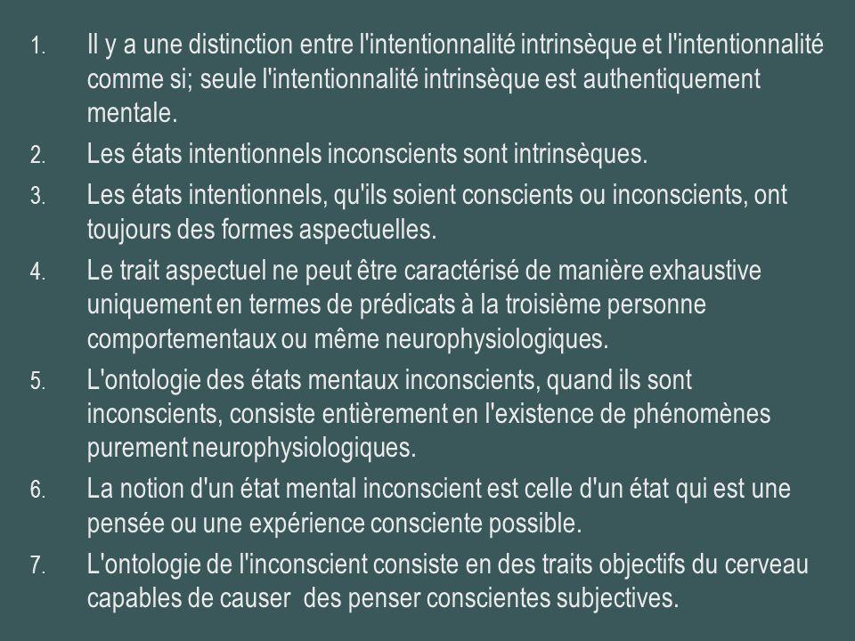 1. Il y a une distinction entre l'intentionnalité intrinsèque et l'intentionnalité comme si; seule l'intentionnalité intrinsèque est authentiquement m