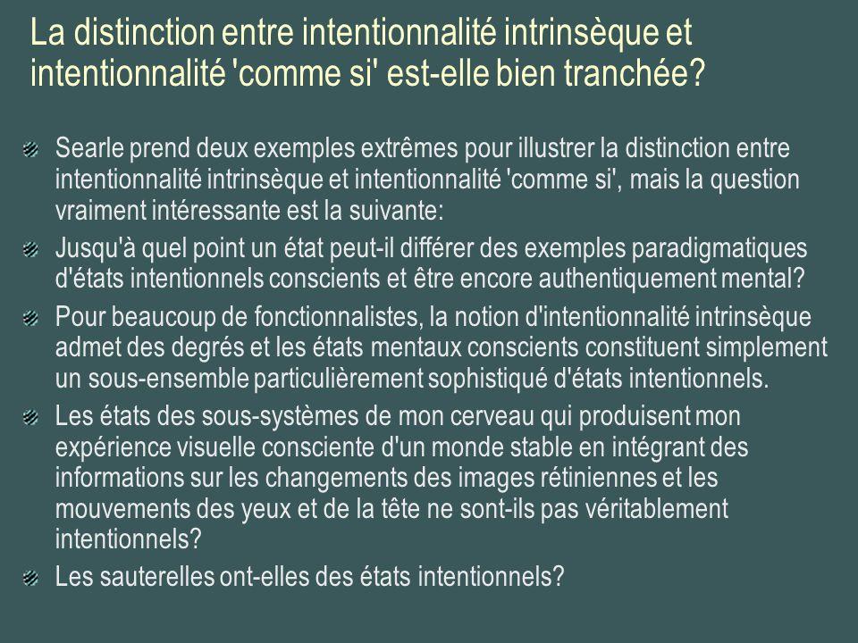 La distinction entre intentionnalité intrinsèque et intentionnalité 'comme si' est-elle bien tranchée? Searle prend deux exemples extrêmes pour illust