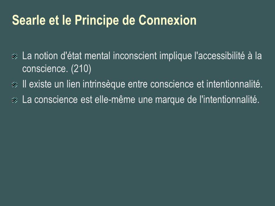 Searle et le Principe de Connexion La notion d'état mental inconscient implique l'accessibilité à la conscience. (210) Il existe un lien intrinsèque e