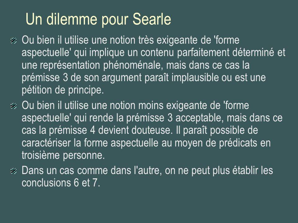Un dilemme pour Searle Ou bien il utilise une notion très exigeante de 'forme aspectuelle' qui implique un contenu parfaitement déterminé et une repré
