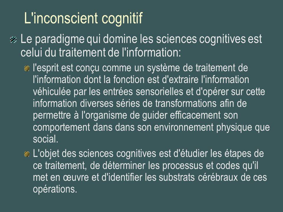 L'inconscient cognitif Le paradigme qui domine les sciences cognitives est celui du traitement de l'information: l'esprit est conçu comme un système d