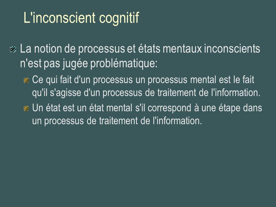 L'inconscient cognitif La notion de processus et états mentaux inconscients n'est pas jugée problématique: Ce qui fait d'un processus un processus men