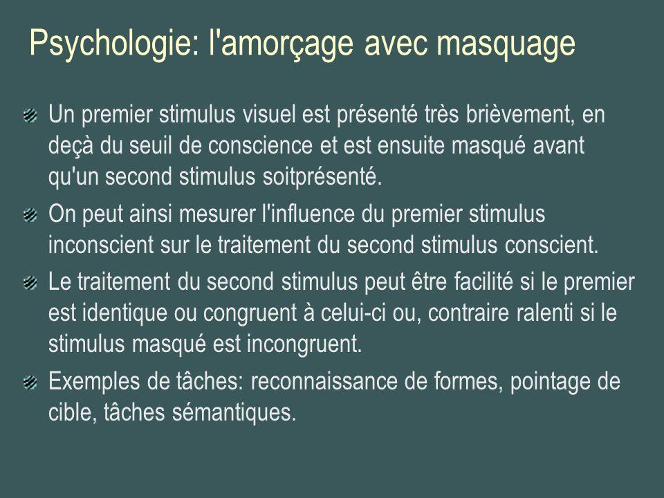 Psychologie: l'amorçage avec masquage Un premier stimulus visuel est présenté très brièvement, en deçà du seuil de conscience et est ensuite masqué av