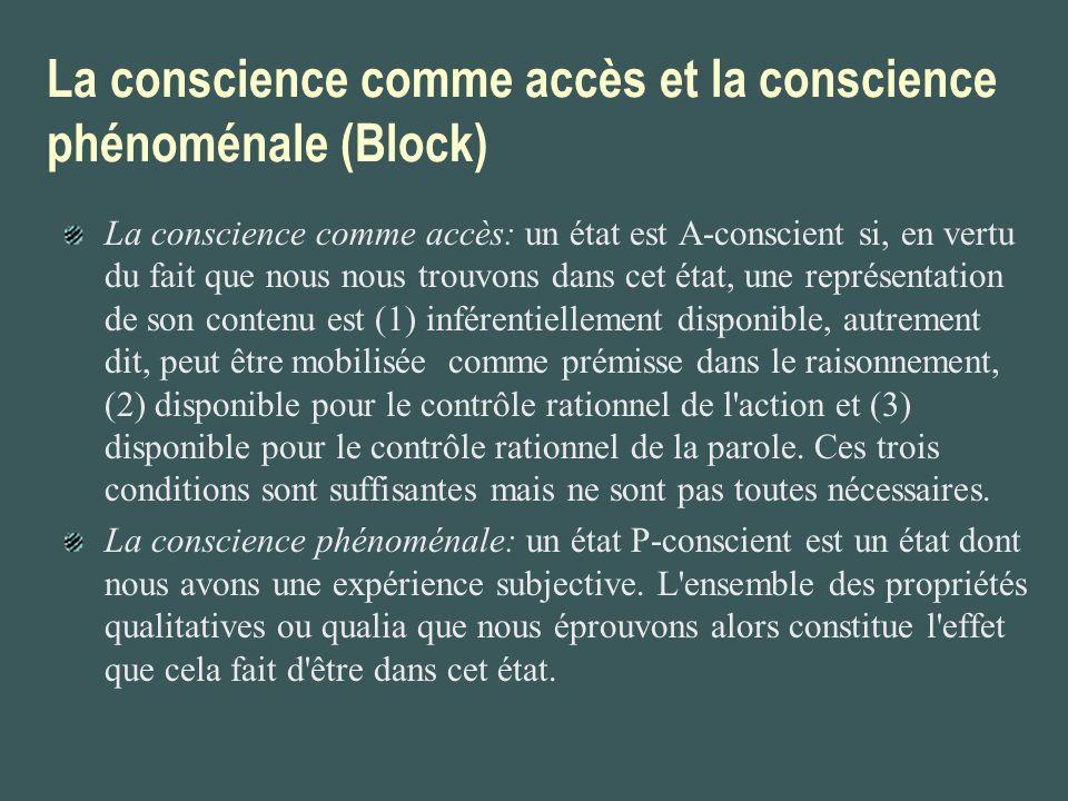 La conscience comme accès et la conscience phénoménale (Block) La conscience comme accès: un état est A-conscient si, en vertu du fait que nous nous t