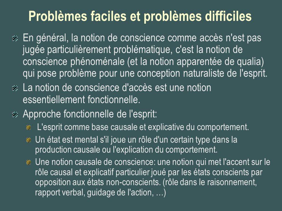 Problèmes faciles et problèmes difficiles En général, la notion de conscience comme accès n'est pas jugée particulièrement problématique, c'est la not