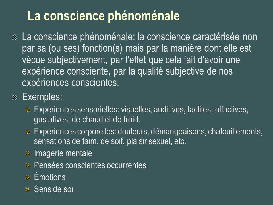 La conscience phénoménale La conscience phénoménale: la conscience caractérisée non par sa (ou ses) fonction(s) mais par la manière dont elle est vécu