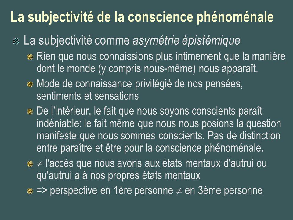 La subjectivité de la conscience phénoménale La subjectivité comme asymétrie épistémique Rien que nous connaissions plus intimement que la manière don
