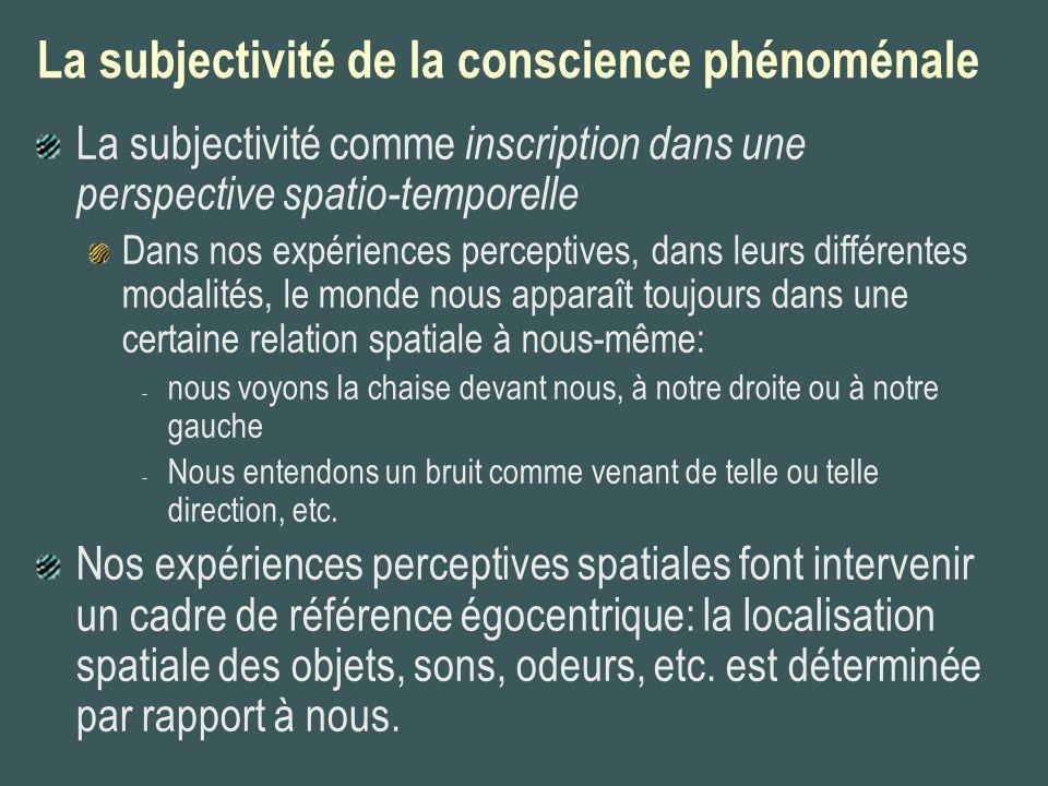 La subjectivité de la conscience phénoménale La subjectivité comme inscription dans une perspective spatio-temporelle Dans nos expériences perceptives