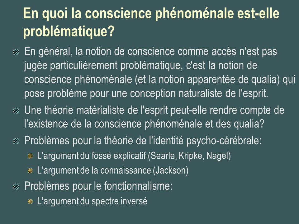 En quoi la conscience phénoménale est-elle problématique? En général, la notion de conscience comme accès n'est pas jugée particulièrement problématiq