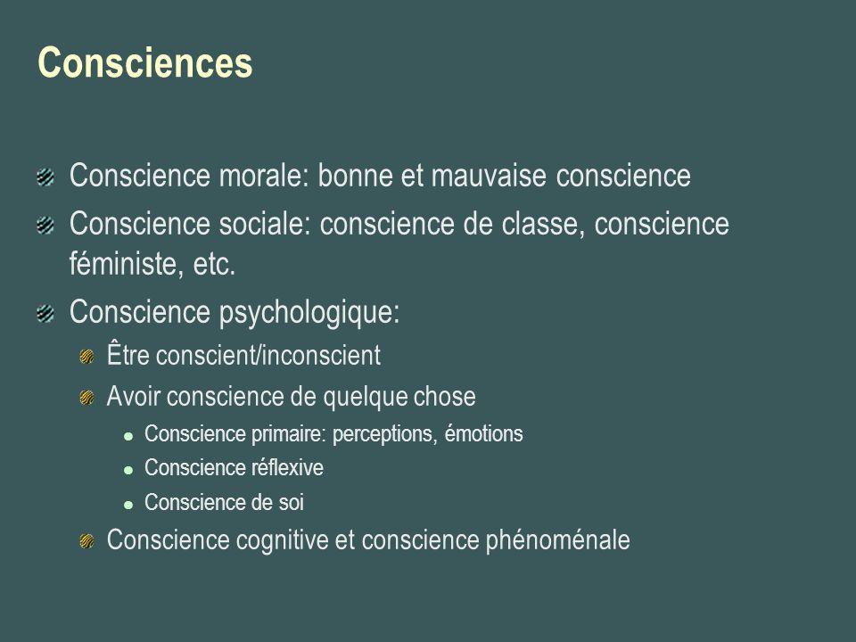 Consciences Conscience morale: bonne et mauvaise conscience Conscience sociale: conscience de classe, conscience féministe, etc. Conscience psychologi