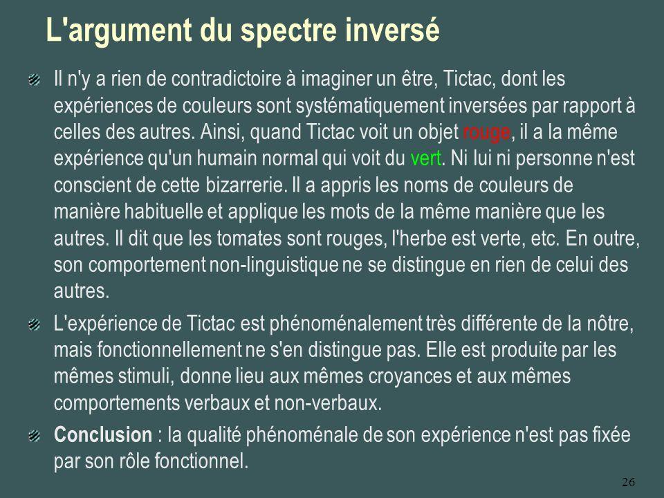 26 L'argument du spectre inversé Il n'y a rien de contradictoire à imaginer un être, Tictac, dont les expériences de couleurs sont systématiquement in