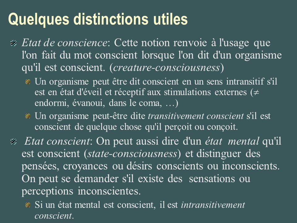 Quelques distinctions utiles Etat de conscience: Cette notion renvoie à l'usage que l'on fait du mot conscient lorsque l'on dit d'un organisme qu'il e